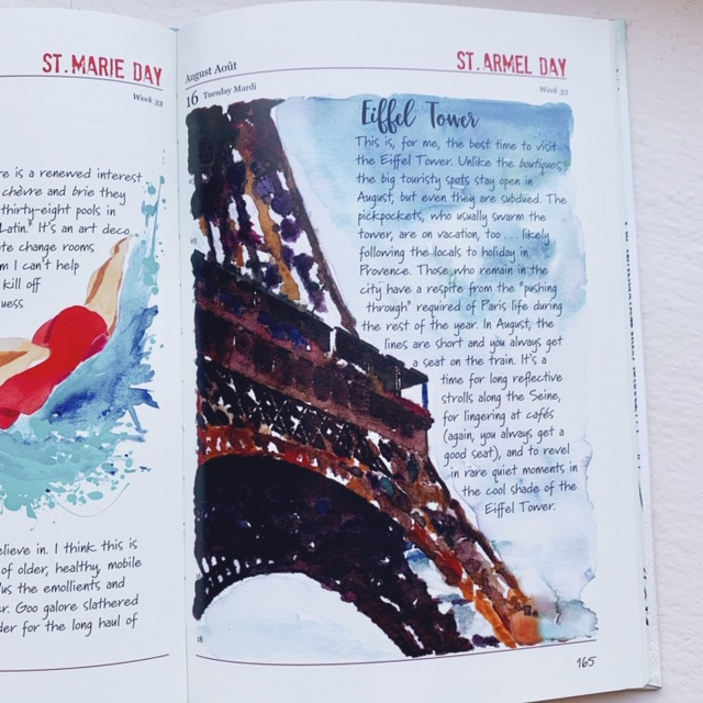 original artwork of the Eiffel Tower inside A Paris Year by Janice MacLeod